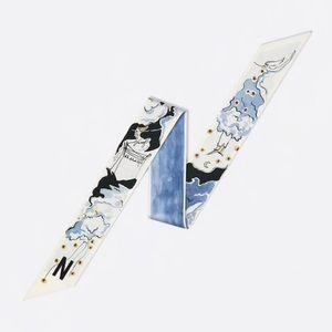 """Dior Accessories - Dior Mitzah Blue Scarf """"N"""""""